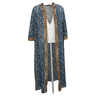 Lisa Rinna Collection Women's Printed Duster Blue A377528