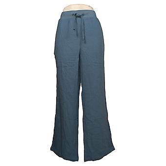 Denim & Co. Dame&ampos;s Bukser Naturals Crinkle Gasze med Lommer Blå A379083