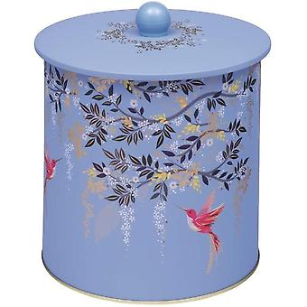 Sara Miller Chelsea Birds Blue Biscuit Barrel Metal Kitchen Storage Tin