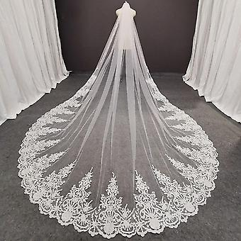 Long Lace Bridal Veil With Comb Cathedral White Ivory  Wedding