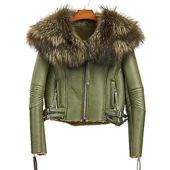 Mimigo Veste en cuir véritable avec grand col en fourrure de raton laveur naturel Femmes Slim Real Fur Coat pour l'automne et l'hiver Fourrure de mouton Intérieur