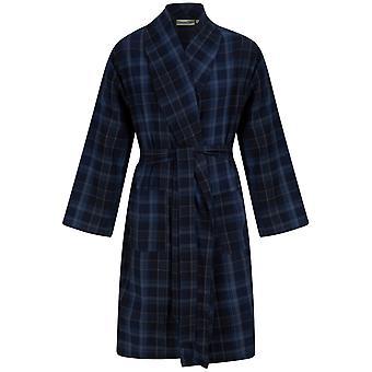 Slenderella Walker Reid WR88822 Men's Navy Check Cotton Dressing Gown