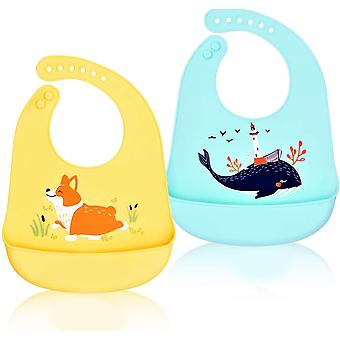 Soft Silicone Baby Bibs, Plastic Bibs, Adjustable Kids Silicone Bibs, Large Lightweight Waterproof Pockets, Animal Green Whales, Yellow Puppies