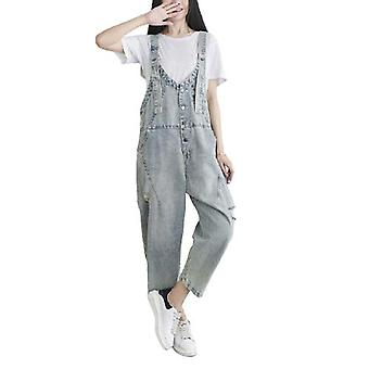 Woman Washable Jeans Loose Overalls