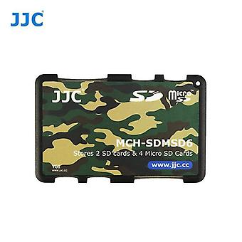 JJC ミニ メモリ カード ホルダー 2 x SD、SDHC、SDXC カード + 4 x microSD/SDHC/SDXC カード (迷彩)