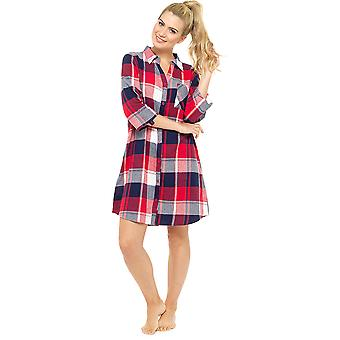Ladies Foxbury Yarn Dyed Plaid Check Cotton Rich Nightdress Nighty Sleepwear