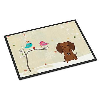 Christmas Presents between Friends Dachshund Red Brown Indoor or Outdoor Mat 24x