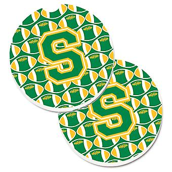Letter S Football Green and Gold Set of 2 Cup Holder Car Coasters