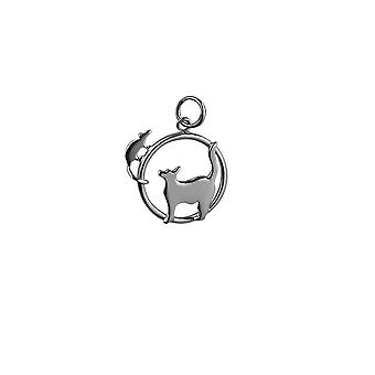 Silver 20x17mm Cat looking left and Mouse in a circle Pendant or Charm