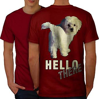 Hello Cute Dog Joke Men RedT-shirt Back | Wellcoda