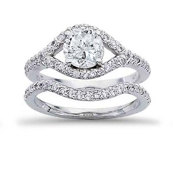 1 1 / 4ct Diamant Verlobungsring Set 14K White Gold