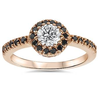 7/8ct Halo Diamond Ring 14K Rose Gold