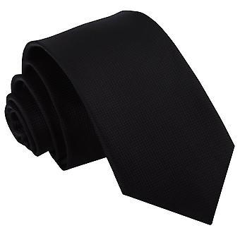 Zwarte solide Check slanke Tie