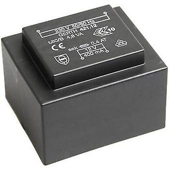 PCB mount transformator 1 x 230 V 1 x 6 V AC 4,80 VA 800 mA PT420601 Gerth