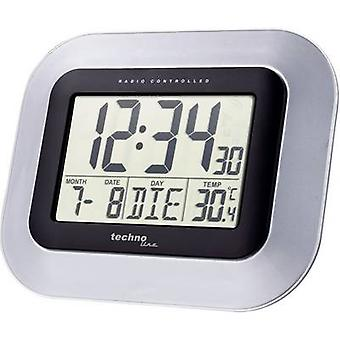 Techno Line WS 8005 Radio Wall clock 228 mm x 180 mm x 28 mm Silver, Black