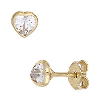 Earrings heart 333 Gold Yellow Gold 2 cubic zirconia earrings gold