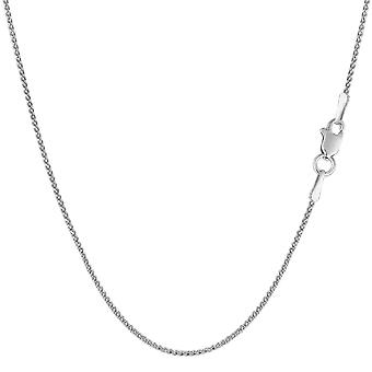14k diamant rond or blanc coupe blé Collier Necklace, 1,0 mm