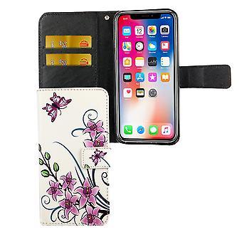 أبل iPhone XS حالة حالة الهاتف واقية غطاء حالة الوجه مع علبة بطاقة زهرة لوتس