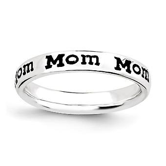 925 Sterling Silber gemustert schwarz Emaille Rhodium vergoldet stapelbare Ausdrücke poliert emaillierte Enameled Mom Ring Schmuck Geschenke