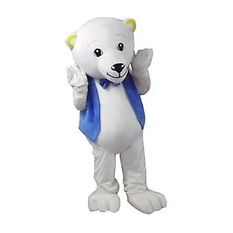 mascot SPOTSOUND of polar bear, with a vest and a butterfly knot