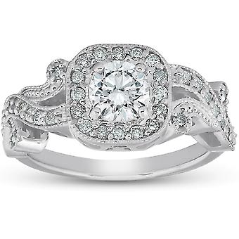 1 Ct Diamond Vintage Cushion Halo Vine Band Engagement Ring 14k White Gold