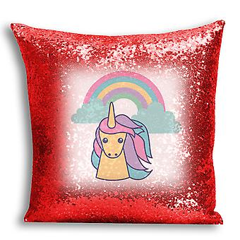 i-Tronixs - Unicorn Printed Design Red Sequin Cushion / Pillow Cover with Inserted Pillow for Home Decor - 3