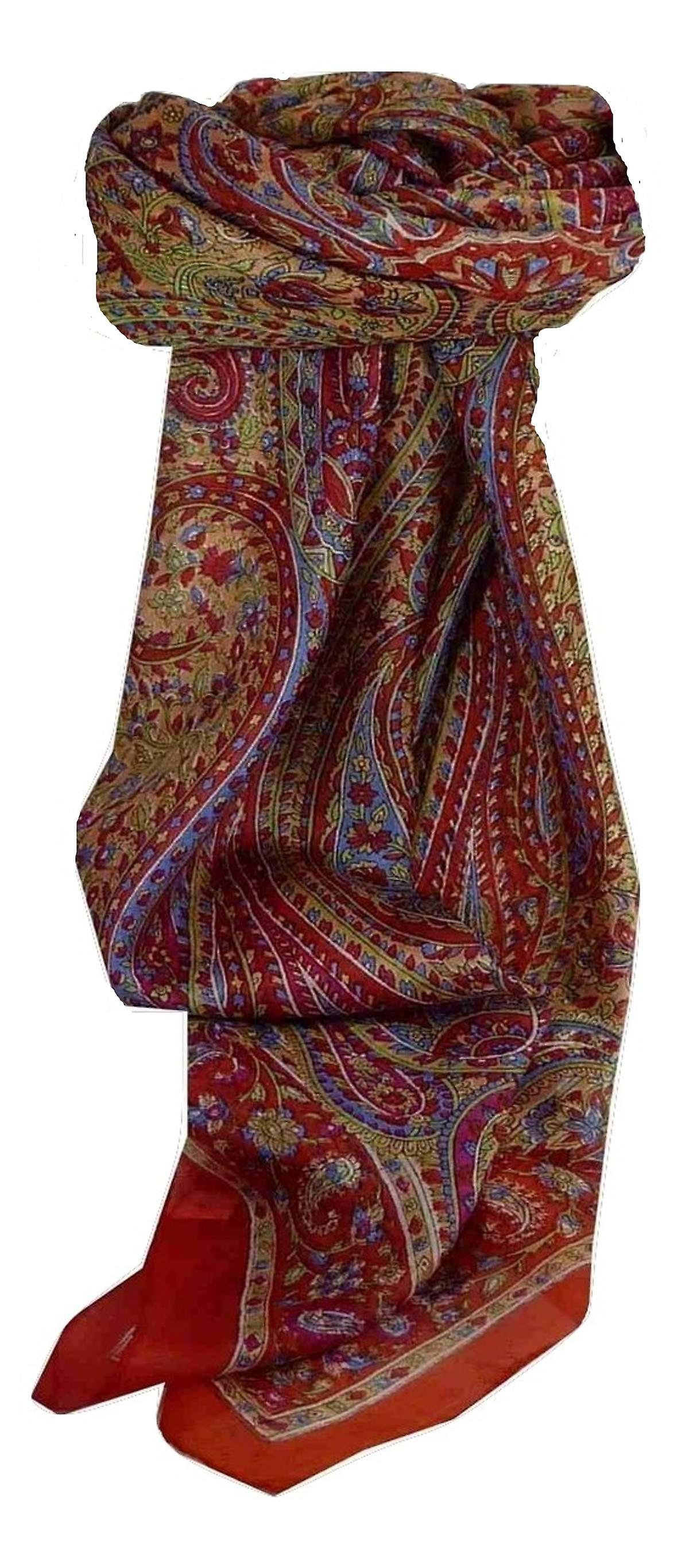 Mulberry Silk Traditional Square Scarf Rohana Red by Pashmina & Silk