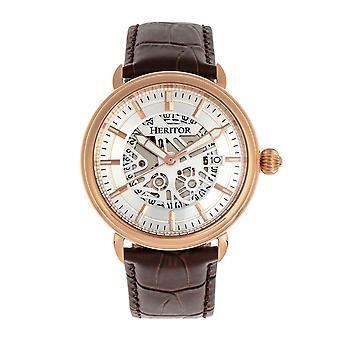 Heritor s automática Mattias-venda de cuero reloj w/fecha - rosa oro/plata