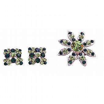 Peridot-Grün Grün Smaragdkristalle Runde Brosche mit passenden Ohrringe