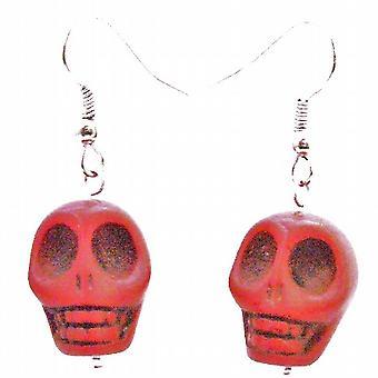 Coral Charm Punk Skull Rock Bead Earrings