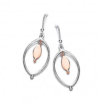 Cavendish French Sterling Silver and Copper Oval Drop Earrings