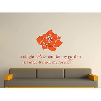 A Single Rose Wall Art Sticker - Orange
