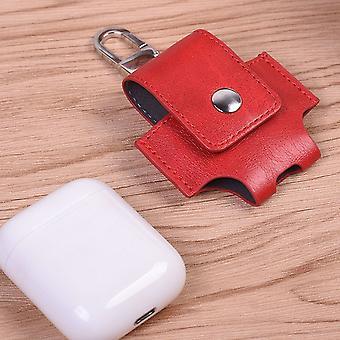 Kunstleder Tasche für Apple AirPods Rot Schutz Etui Tasche Halter Halterung Zubehör