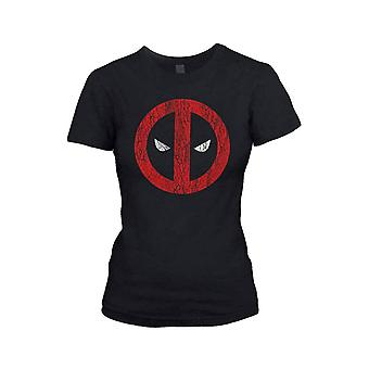 Women's Marvel Deadpool Cracked Logo Fitted T-Shirt