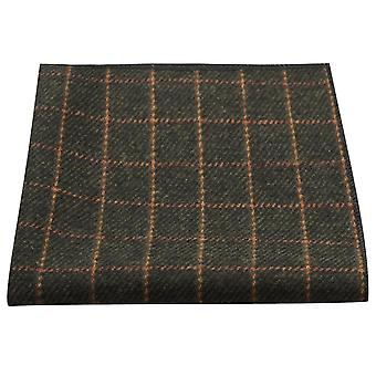 Luxury Leaf Green Tattersall uloskirjautuminen Tweed Pocket Square, nenäliina