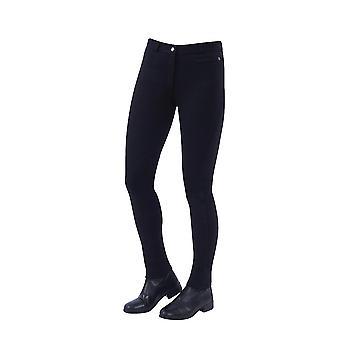 Dublin Supa-fit mujeres Zip Up Knee Parche Jodhpurs - Negro