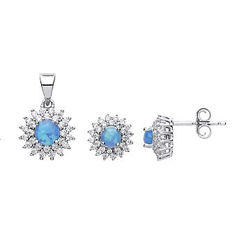 Jewelco London Ladies Rhodium Plated Sterling Silver blue round opal Sunshine Cluster Solitaire Earrings Necklace Set