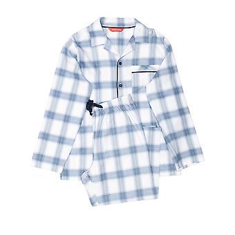 Minijammies 6379 Boy's Harper Blue Mix Check Cotton Pyjama Set