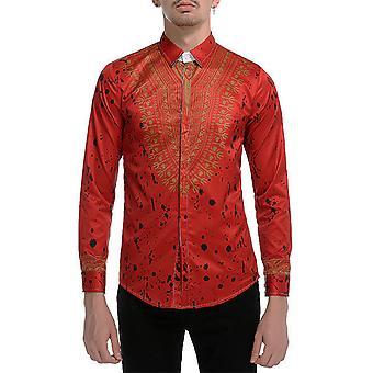 Allthemen Men's Shirt Floral Lapel Slim Fit Casual Koszula z długim rękawem