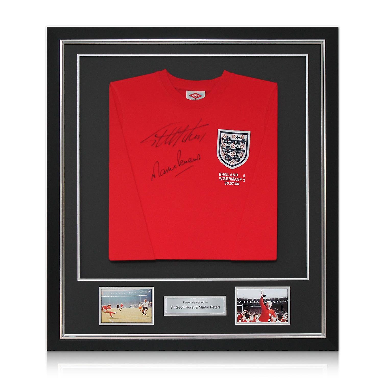 Geoff Hurst And Martin Peters Signed England 1966 Football Shirt. Framed