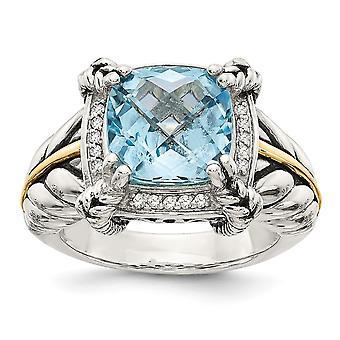 14k GeelGepolijste Prong set 10mm Cush Sky Blue Topaz Diamond Ring Sieraden Cadeaus voor Vrouwen - RingMaat: 6 tot 8