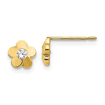 14k Yellow Gold Madi K Cubic Zirconia Sparkle-Cut for boys or girls Flower Post Earrings