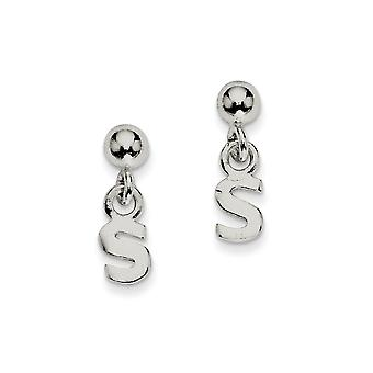 925 Sterling Silver Polished S Dangle Post Earrings Jewelry Gifts for Women - .7 Grams