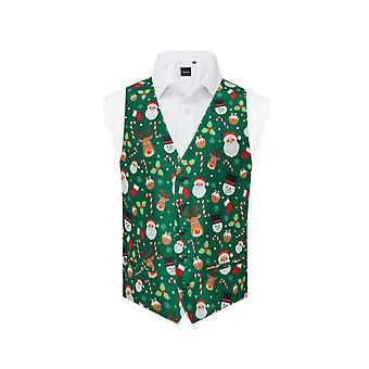 Dobell Mens Green Santa and Friends Christmas Waistcoat
