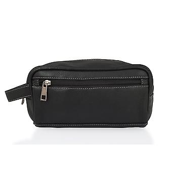 "8.5"" Single Zip Wash Bag With Grab Handles - Black"