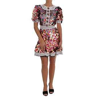 Dolce & Gabbana Multicolor Sequined Crepe Mini Dress -- DR13369136