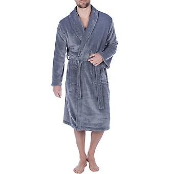 Harvey James Mens Soft Fleece Long Sleeve Shawl Collar Dressing Gown Robe-Grey