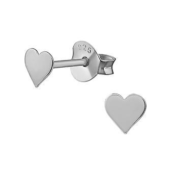 Heart - 925 Sterling Silver Plain Ear Studs - W20622x
