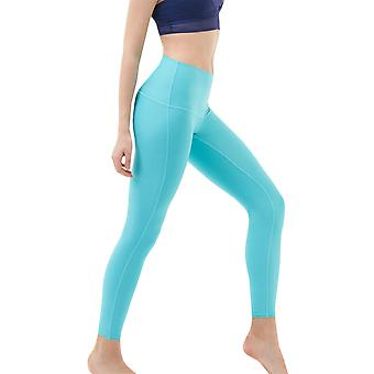 TSLA Tesla FYP41 Women's Mid-Waist Ultra-Stretch Yoga Pants - Solid Aqua