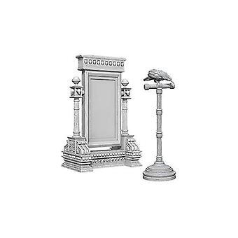 WizKids Deep Cuts Unpainted Miniatures Mirror & Bird on Stand (Pack of 6)